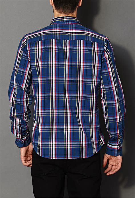 Forever 21 Classic Fit Madras Plaid Shirt in Blue/Red