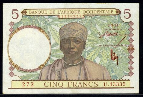 French West Africa 5 Francs banknote of 1943|World