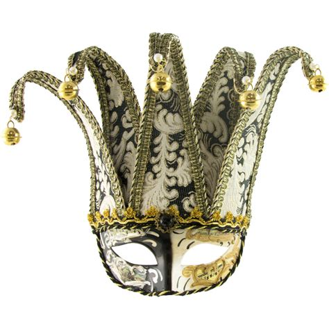 Black & Gold Venetian Jester Mask With Brocade Fabric