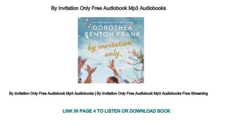 By Invitation Only Free Audiobook Mp3 Audiobooks