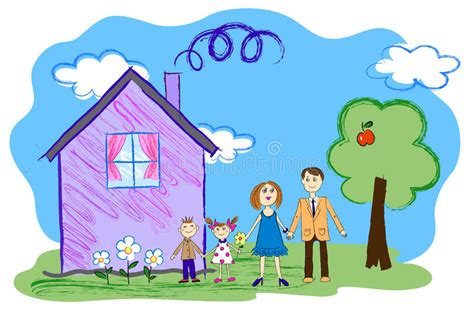 Vector Kids Sketch Of Happy Family With House Stock Vector