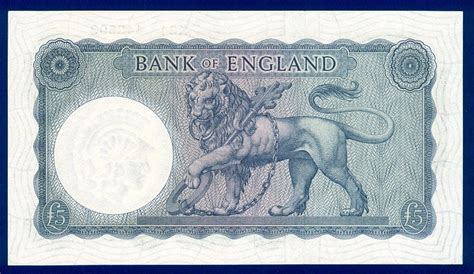 Great Britain banknotes £5 British Pounds banknote 1957