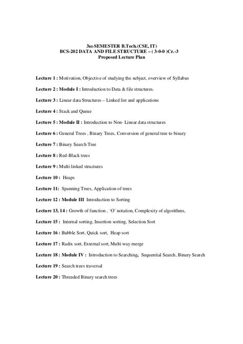 Data and File Structure Lecture Notes