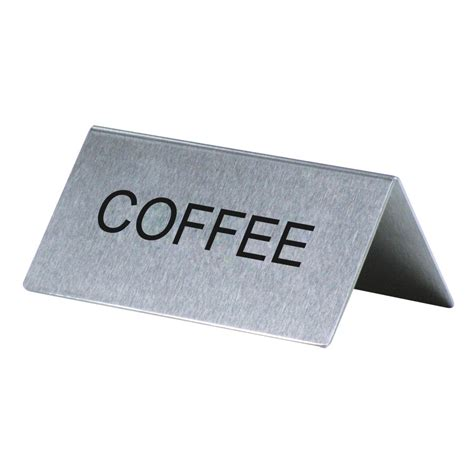 """""""Coffee"""" Table Tent Sign Stainless Steel - 3"""" x 1 1/2"""""""